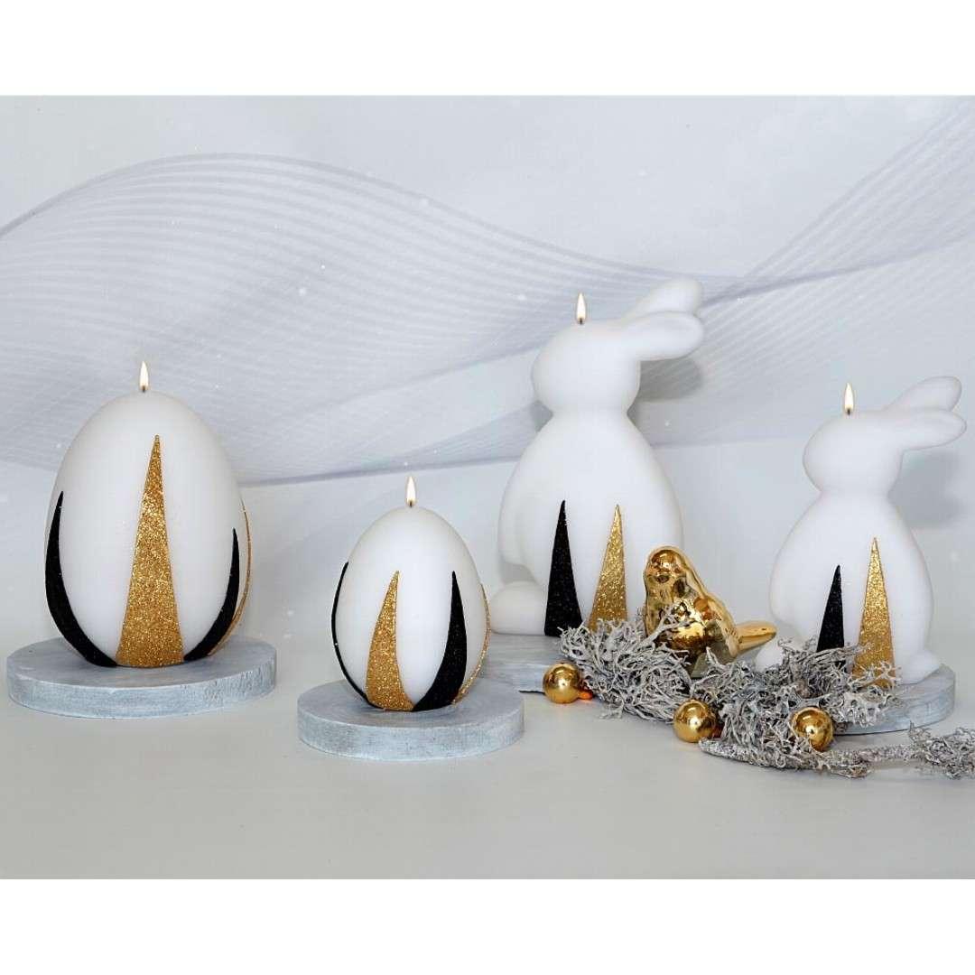 Lampion Wielkanocna łezka - złoto-czarne pasy biały Adpal 110/290  mm