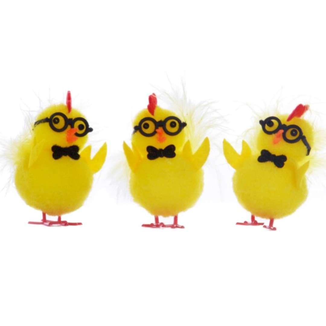 """Dekoracja """"Kurczaki w okularach"""", 5 cm, Arpex, 3 szt"""