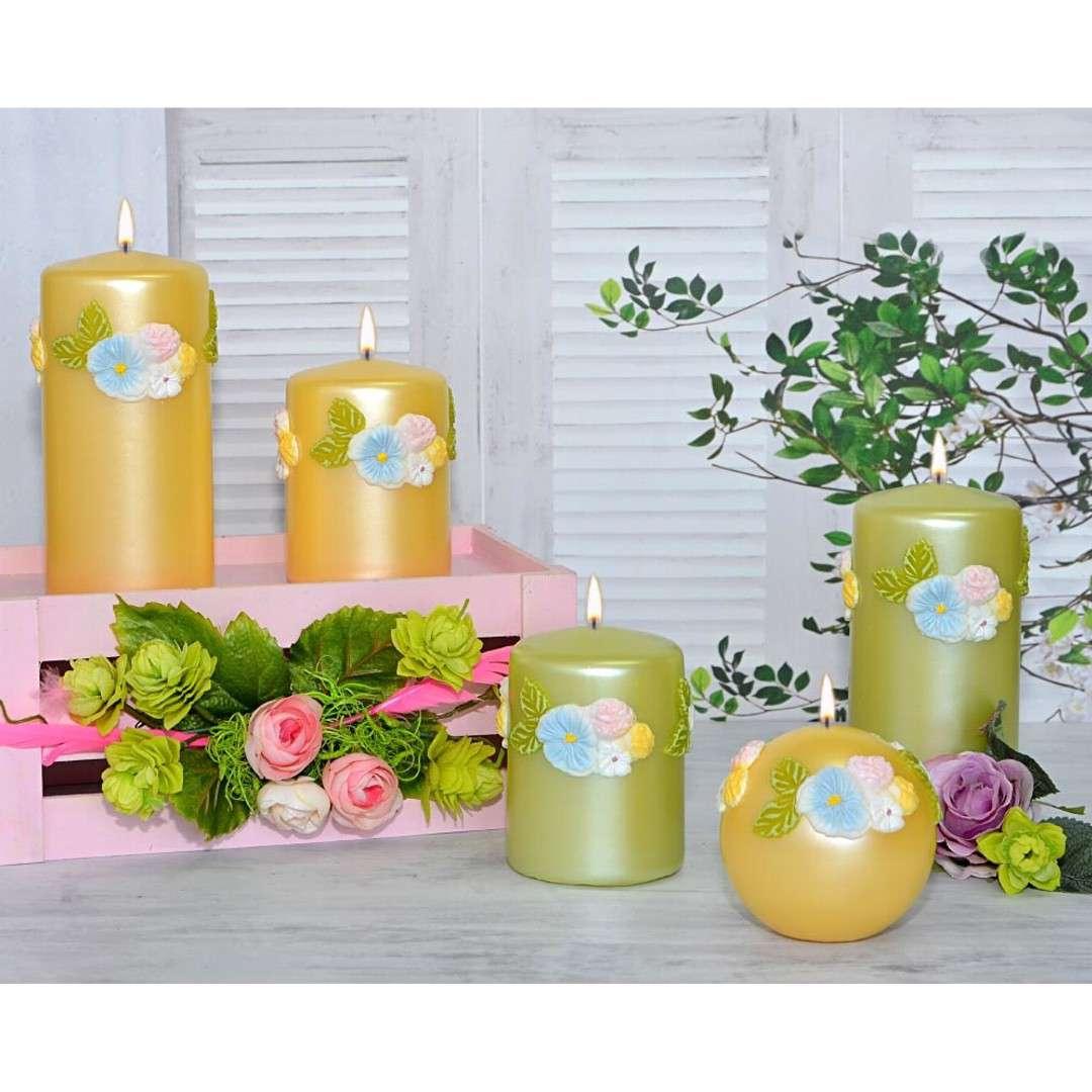 Świeca pieńkowa Kwiaty zielona Adpal 100/70 mm