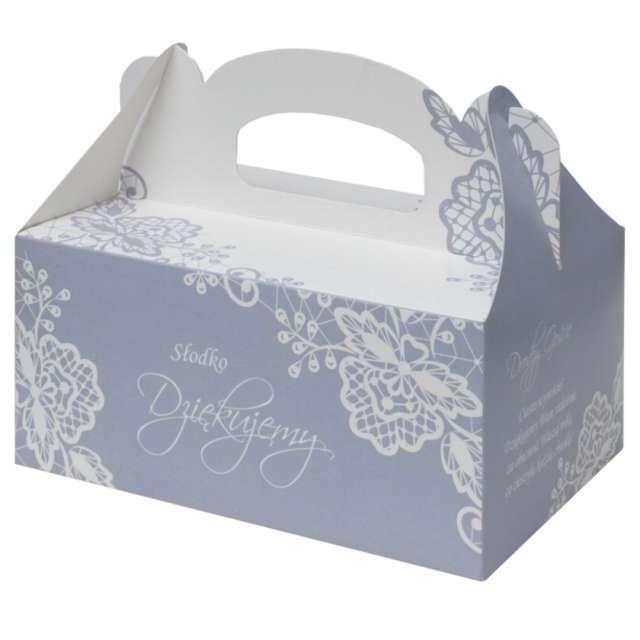 """Pudełko na ciasto """"Koronka"""", niebieskie, FSOpakowania, 5 szt."""