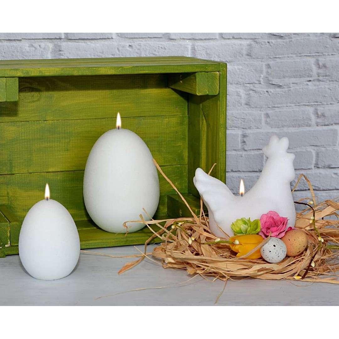Świeca Wielkanocne jajko dioda LED biały mat Adpal 9cm