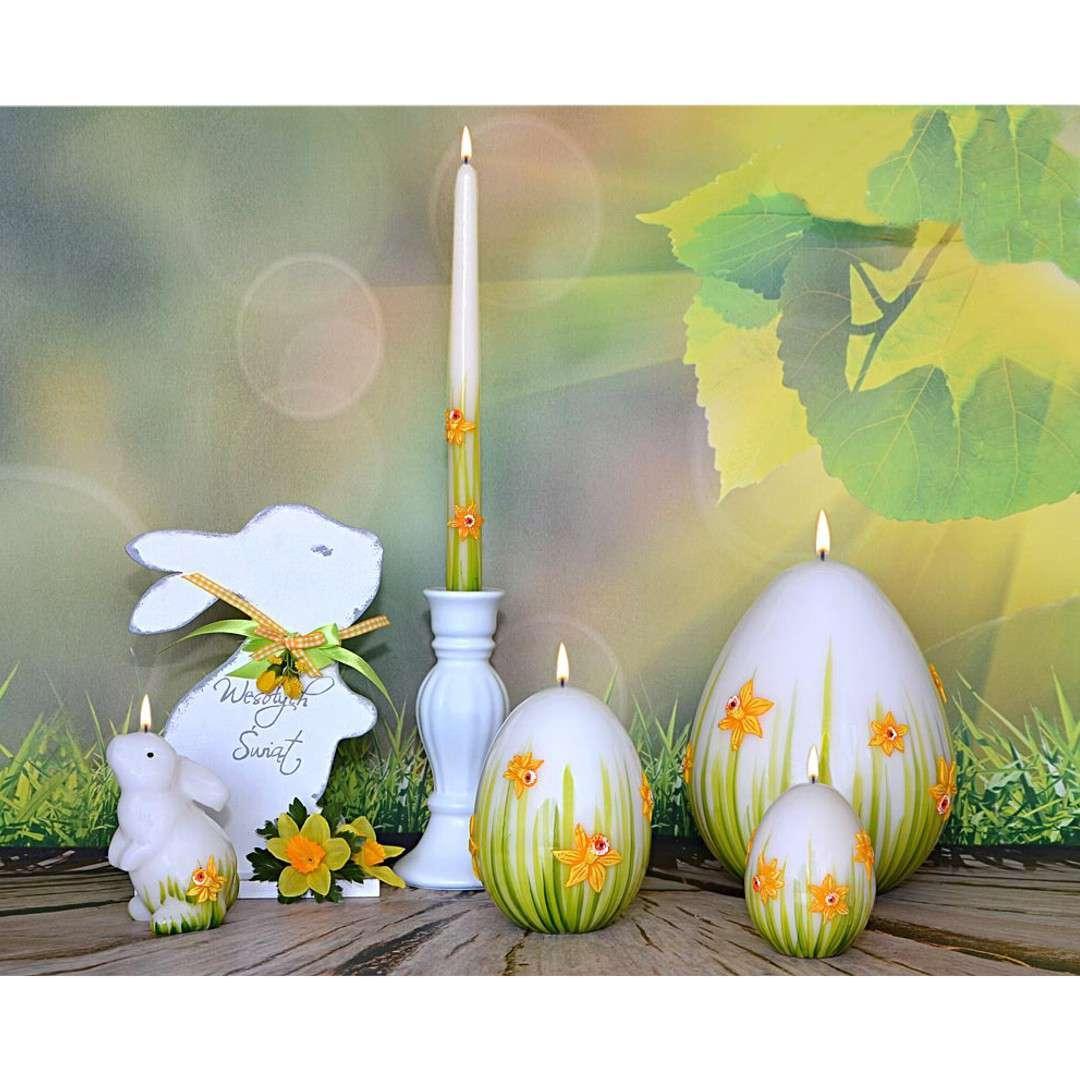 Świeca Wielkanocne jajko z żonkilem biało-zielone Adpal 140/100 mm