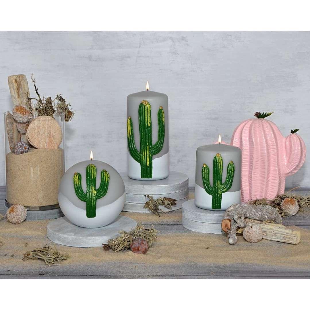 Świeca pieńkowa Kaktus szara Adpal 150/70 mm