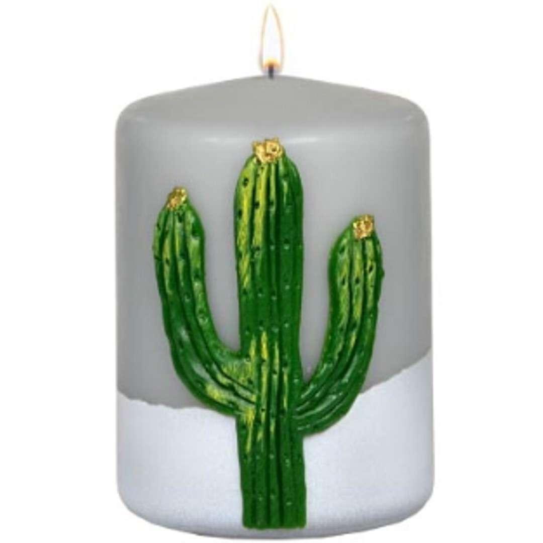 """Świeca pieńkowa """"Kaktus"""", szara, Adpal, 100/70 mm"""