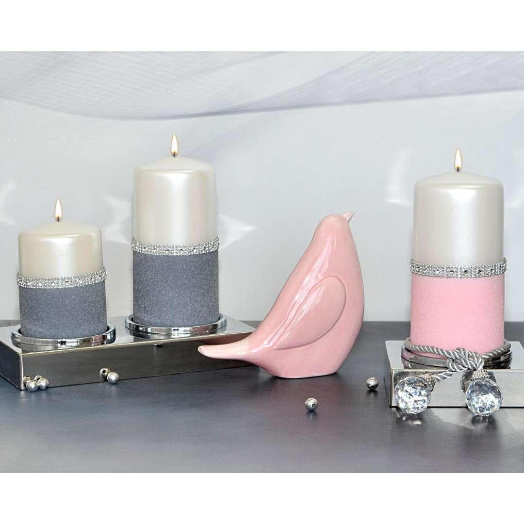Świeca pieńkowa Diament perłowo-różowa Adpal 150/70 mm