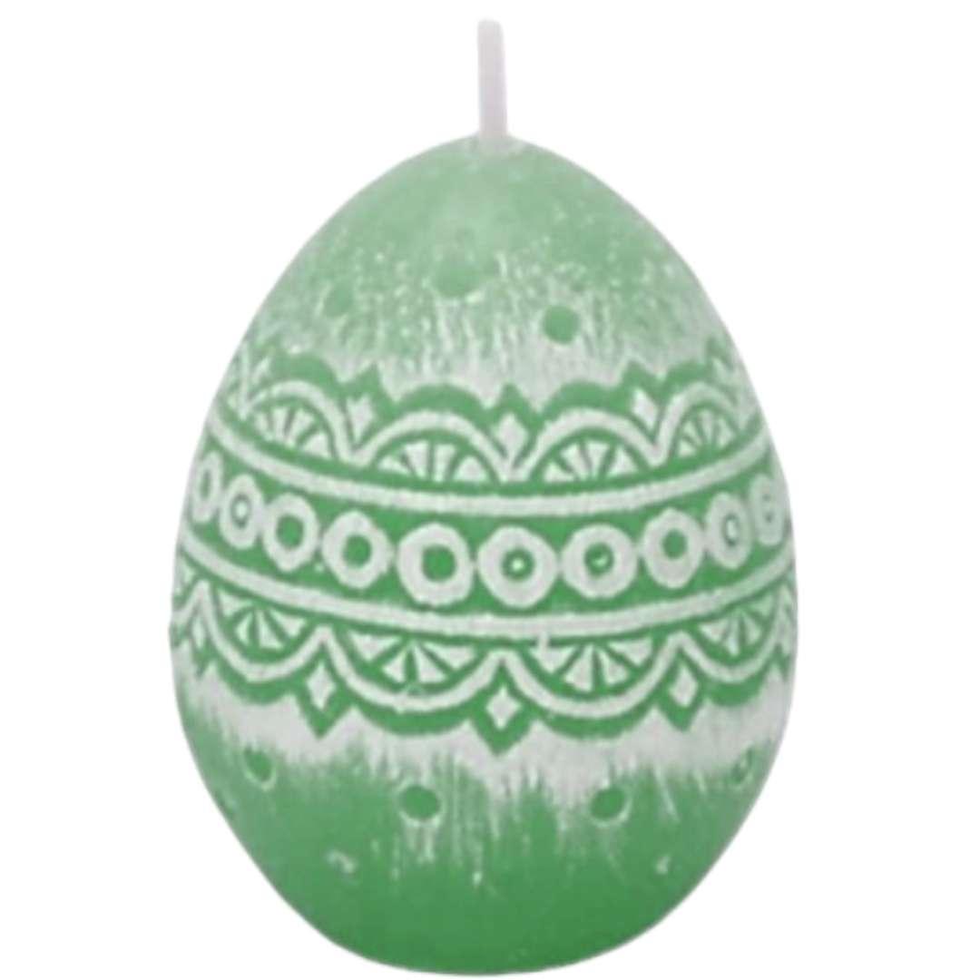 """Świeca """"Wielkanoc - Pisanka Koronkowa"""", zielona, Bartek-Candles, 50 mm"""