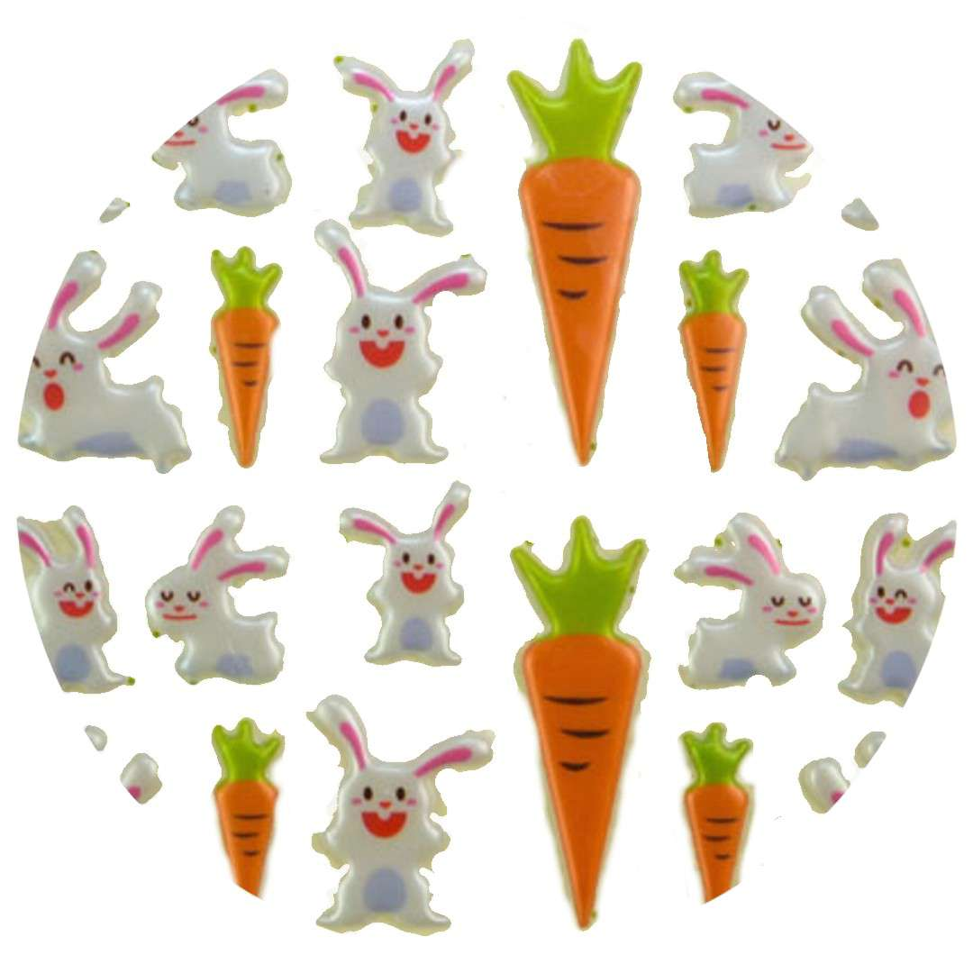 """Naklejki """"Wypukłe - króliki i marchewki"""", Aprex"""
