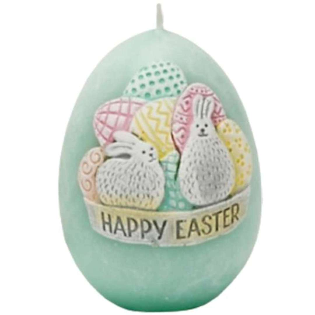 """Świeca """"Wielkanoc - Happy Easter"""", niebieski tiffany, Bartek-Candles, 45/60 mm"""