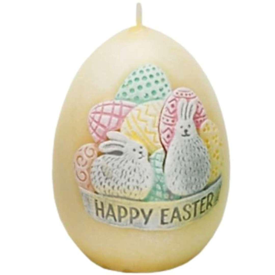 "Świeca ""Wielkanoc - Happy Easter"", żółta, Bartek-Candles, 45/60 mm"
