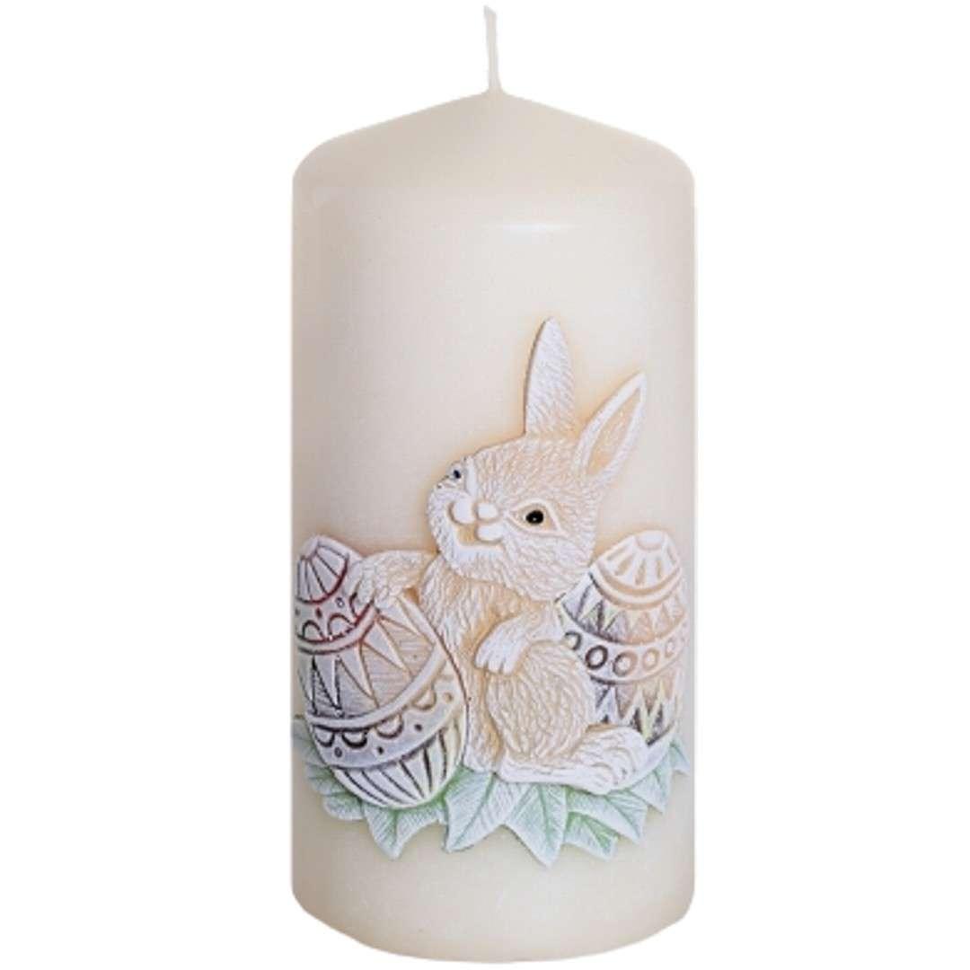 """Świeca pieńkowa """"Wielkanoc z zajączkiem"""", kość słoniowa, Bartek-Candles, 100 mm"""