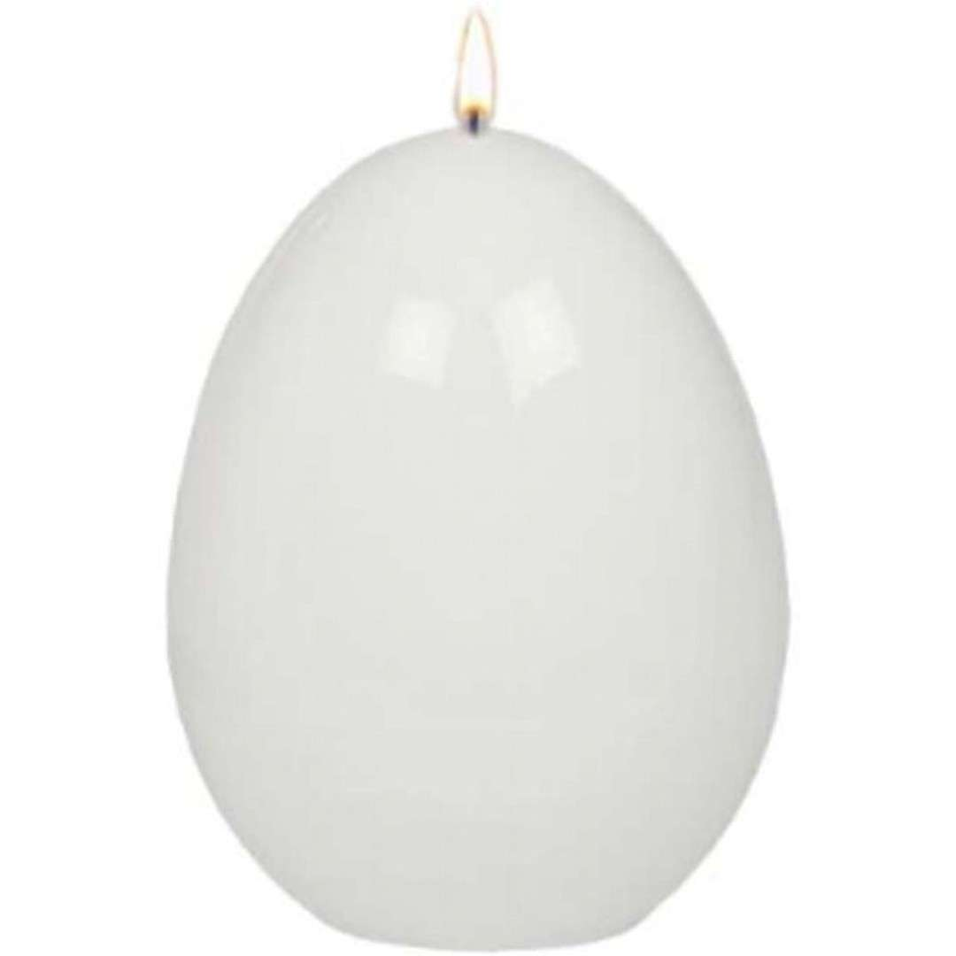 """Świeca """"Wielkanocne jajko lakierowane"""", białe, Adpal, 90/70 mm"""