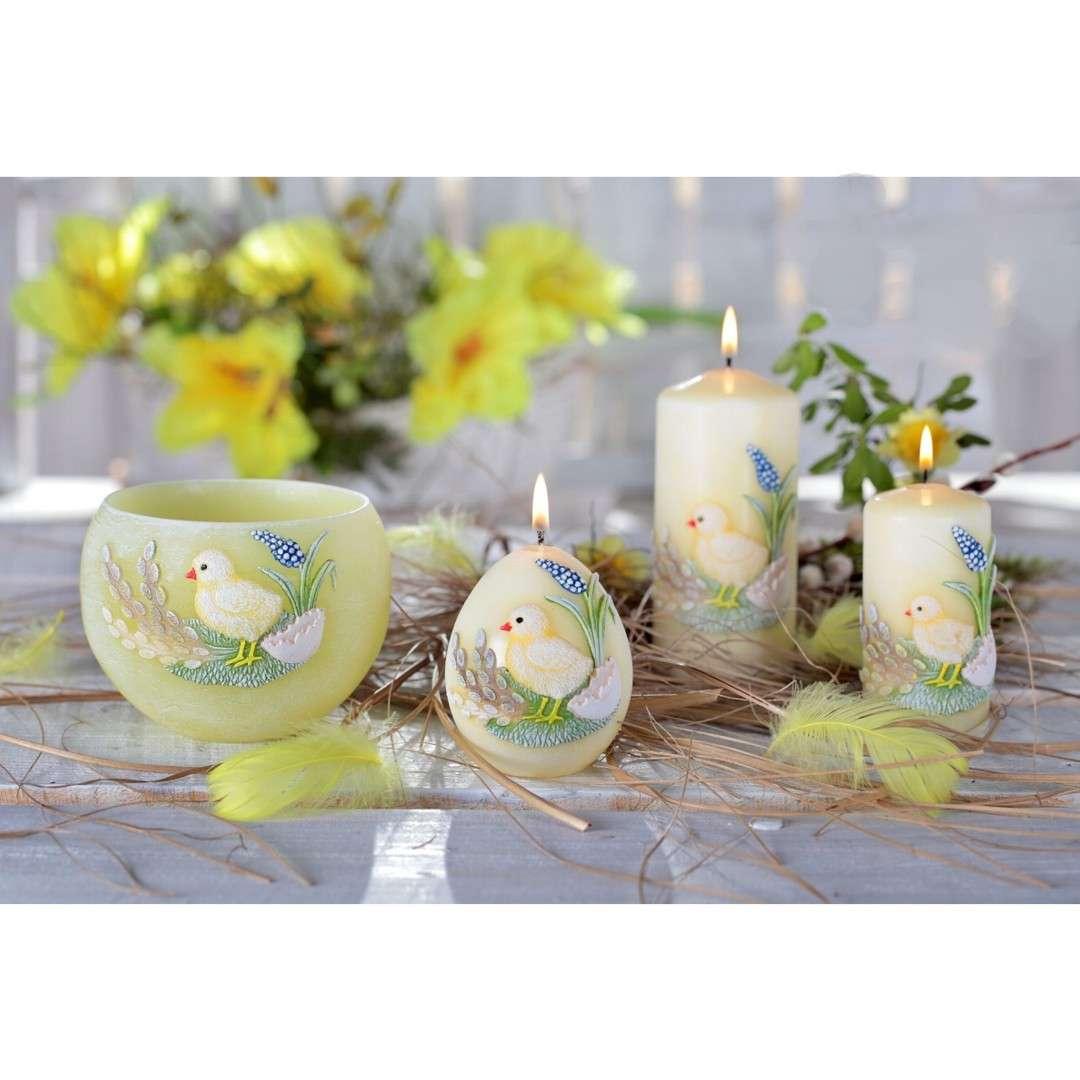 Lampion Wielkanocna kula z kurczakiem seledynowy Bartek-Candles 120 mm