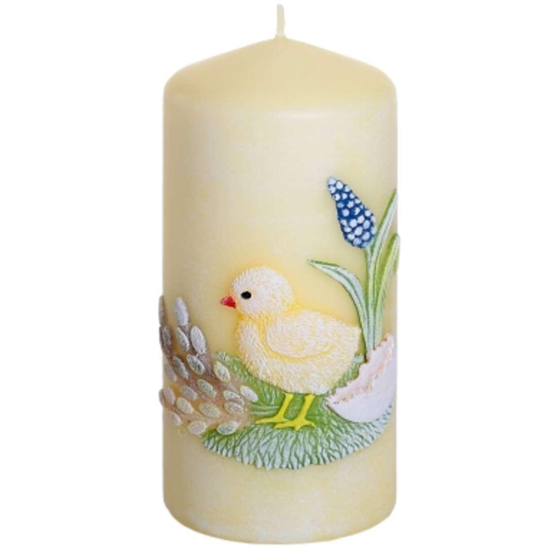 """Świeca pieńkowa """"Wielkanoc z kurczakiem"""", żółty, Bartek-Candles, 130 mm"""