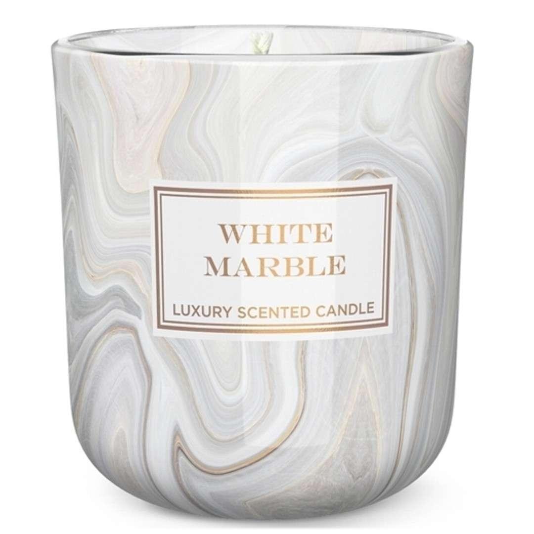"""Świeca zapachowa w szkle """"Marble"""", biała, Bartek-Candles"""