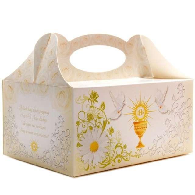 Pudełko na ciasto Komunia IHS ecru 5szt