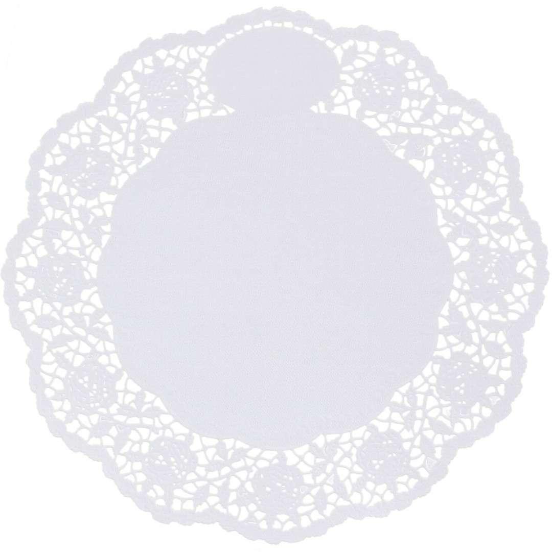 Serwetka dekoracyjna, okrągła, biała, 20 cm, 12 szt