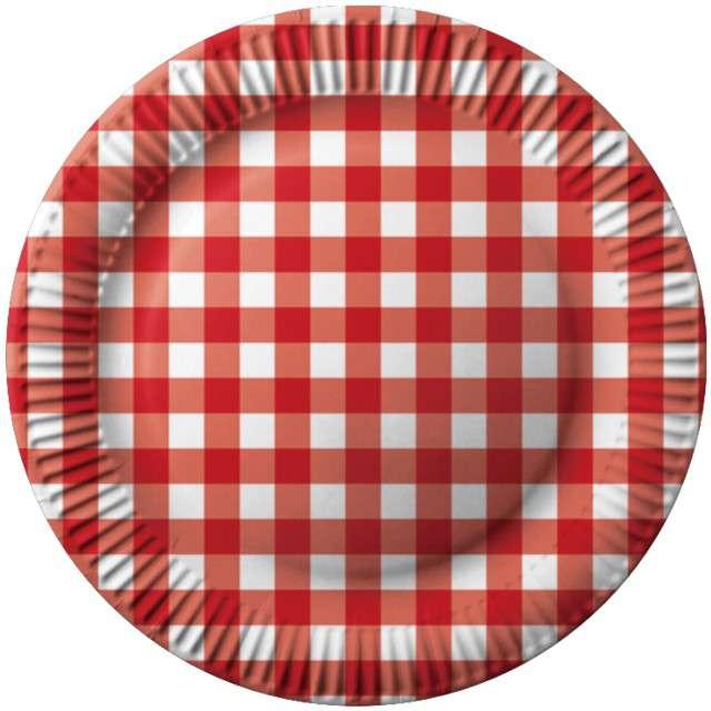 """Talerzyki papierowe """"Kratka"""", czerwony,  FSOpakowania, 23 cm, 8 szt"""