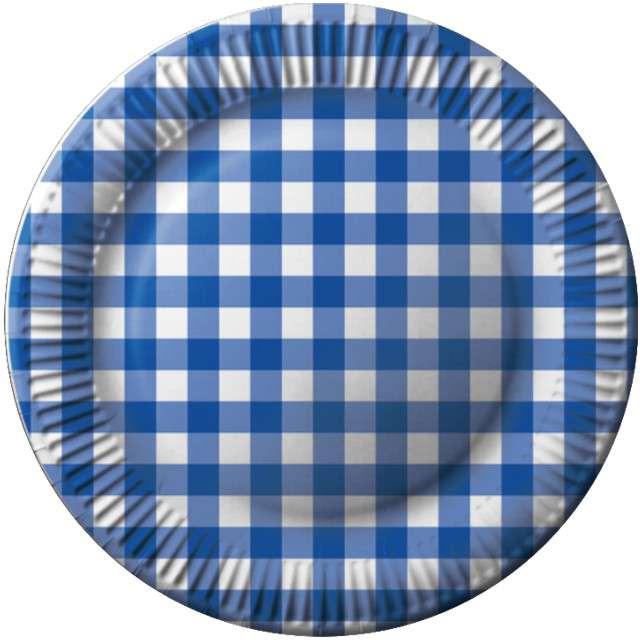 """Talerzyki papierowe """"Kratka"""", niebieski,  FSOpakowania, 23 cm, 8 szt"""