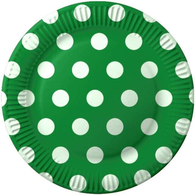 """Talerzyki papierowe """"Grochy"""", zielony,  FSOpakowania, 23 cm, 8 szt"""