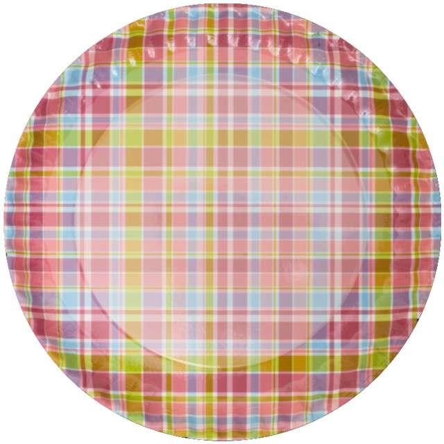 """Talerzyki papierowe """"Kolorowa kratka"""", FSOpakowania, 23 cm, 8 szt"""