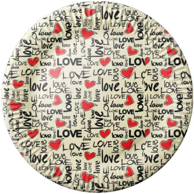 """Talerzyki papierowe """"Love"""", FSOpakowania, 23 cm, 8 szt"""
