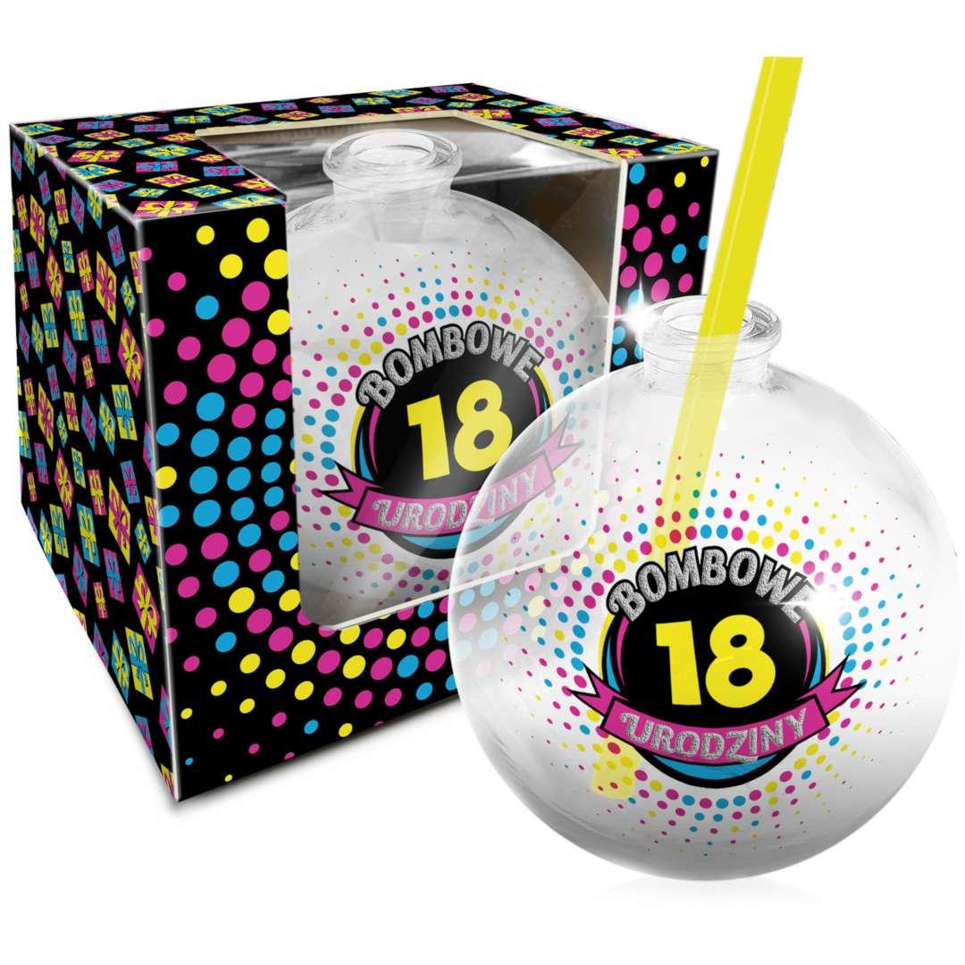 """Szklanka """"Bombka - 18 Urodziny"""", BGtech, 400 ml"""