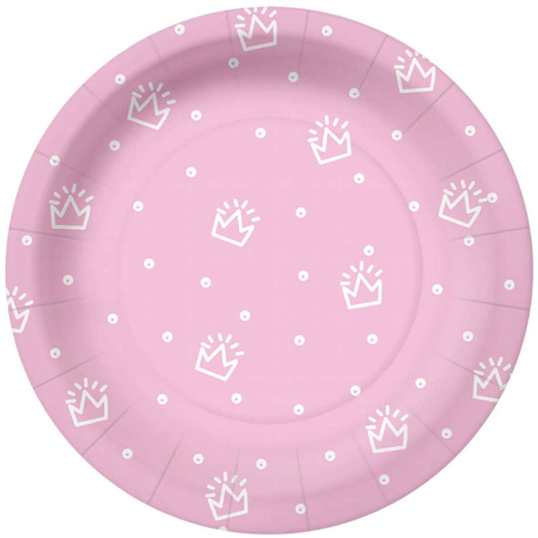 """Talerzyki papierowe """"Korony i kropki"""", różowe, PAW, 18 cm, 10 szt"""