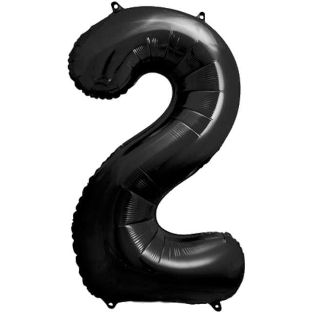 """Balon foliowy """"Metalizowana Cyfra 2"""", czarny, PartyDeco, 33"""""""