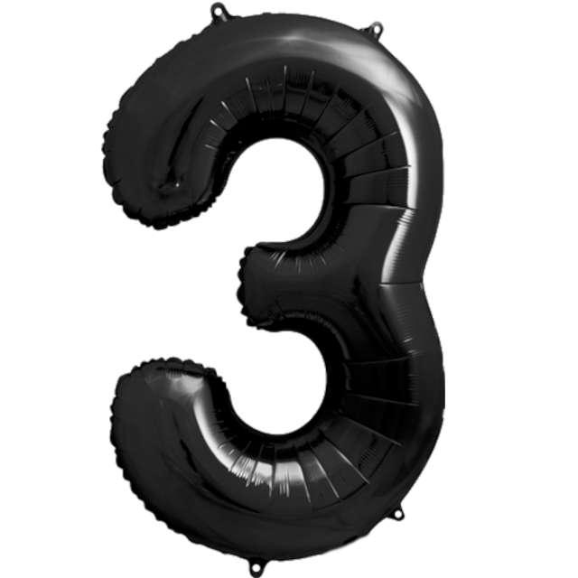 """Balon foliowy """"Metalizowana Cyfra 3"""", czarny, PartyDeco, 33"""""""