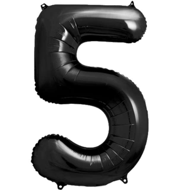 """Balon foliowy """"Metalizowana Cyfra 5"""", czarny, PartyDeco, 33"""""""