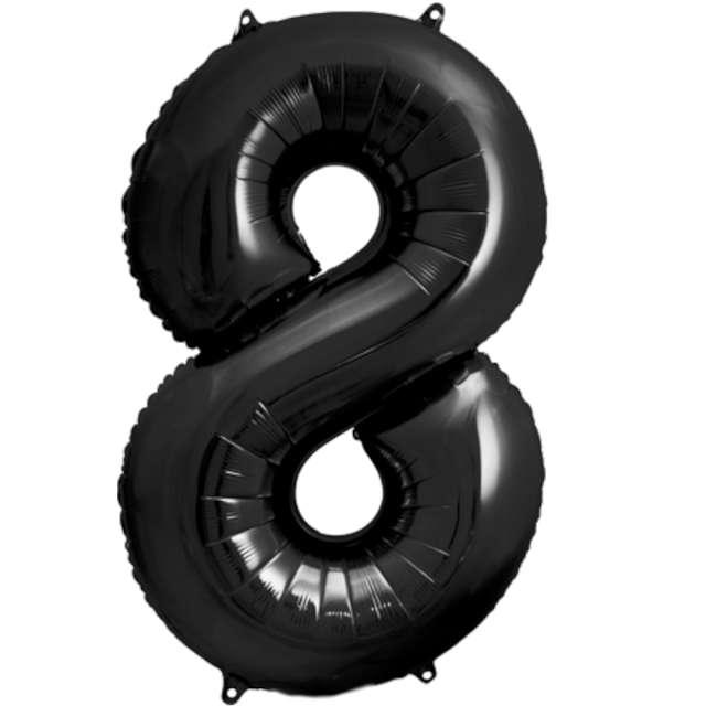 """Balon foliowy """"Metalizowana Cyfra 8"""", czarny, PartyDeco, 33"""""""