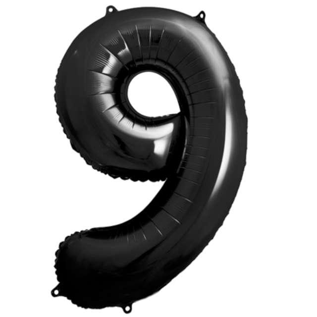 """Balon foliowy """"Metalizowana Cyfra 9"""", czarny, PartyDeco, 33"""""""