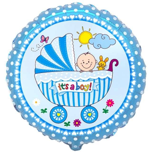 """_xx_Balon foliowy 18"""" FX - """"Wózek dla chłopca"""", niebieski, pakowany"""