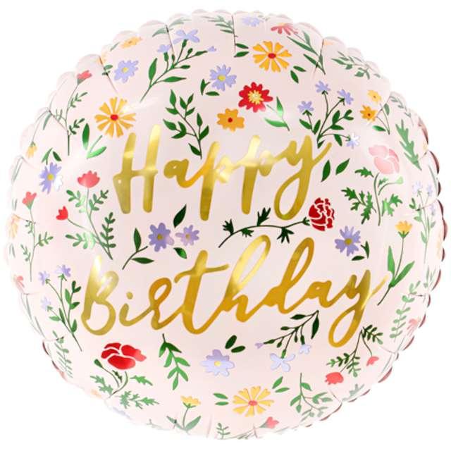 """Balony foliowy """"Kwieciste Happy Birthday"""", jasno różowy, PartyDeco, 14"""", RND"""