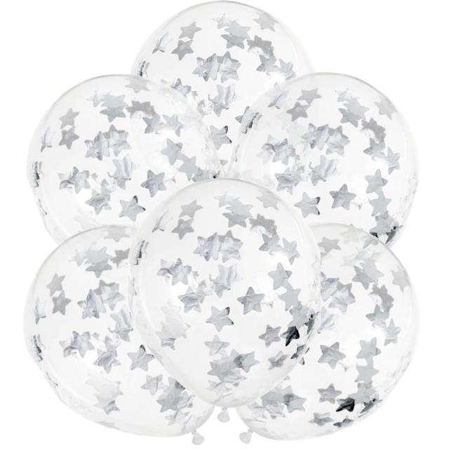 Balony z konfetti Gwiazdki - srebrne PartyDeco 11 6szt