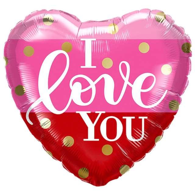"""Balon foliowy """"I love you w kropki"""", Qualatex, 18"""", HRT"""