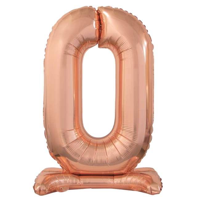 """Balon foliowy """"Cyfra 0 stojąca"""", różowe złoto, Godan, 29"""""""