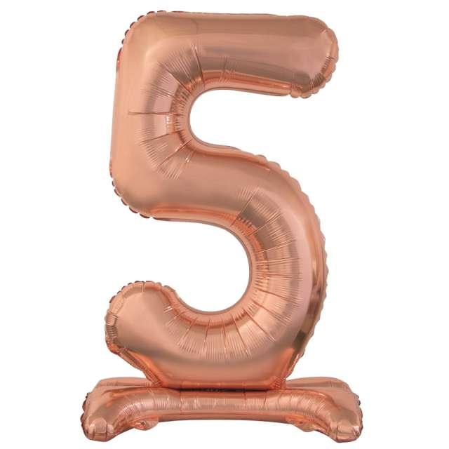 """Balon foliowy """"Cyfra 5 stojąca"""", różowe złoto, Godan, 29"""""""