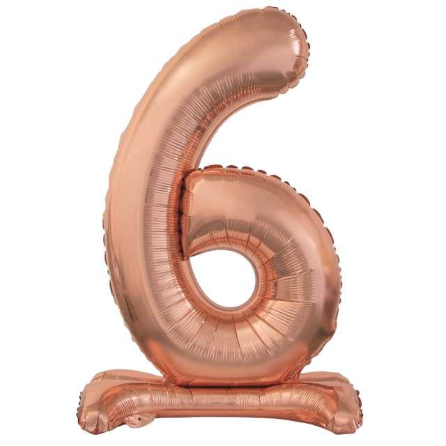 Balon foliowy Cyfra 6 stojąca różowe złoto Godan 29