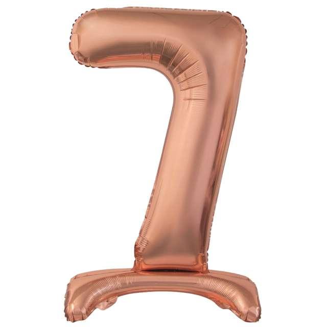 Balon foliowy Cyfra 7 stojąca różowe złoto Godan 29