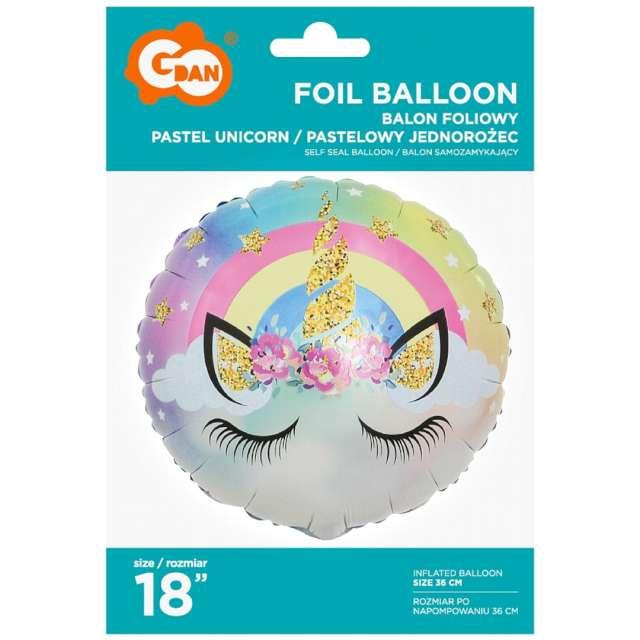 Balon foliowy Jednorożec pastelowy Qualatex 18 RND