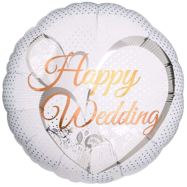 "Balon foliowy ""Happy Wedding"", Ibrex, 14"", RND"