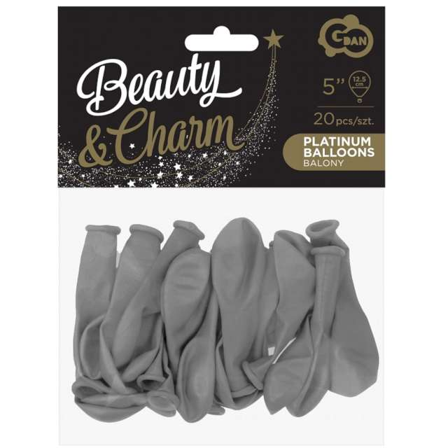 Balony Beauty and Charm - pastelowe szare Godan 5 20 szt.