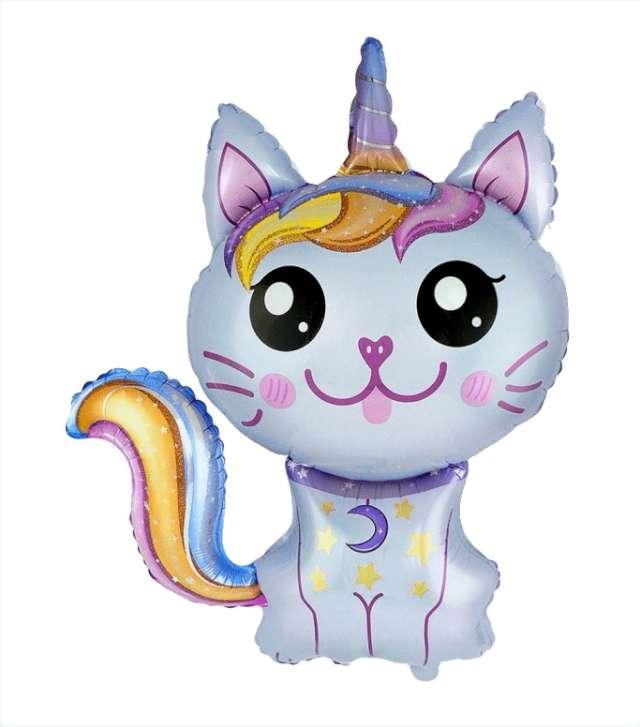 """Balon foliowy """"Magiczny, niebieski kot"""" Flexmetal, 24"""" SHP"""