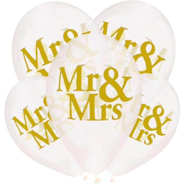 """Balony """"Ślubne - Mr & Mrs"""", Gemar, 13"""", 5 szt."""