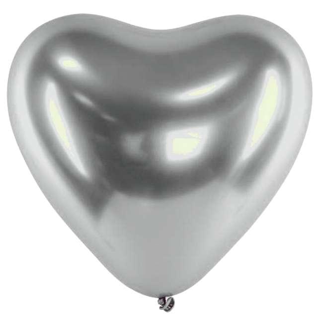 "Balony ""Serca Shiny"", srebrne, Gemar, 12"", 25 szt."