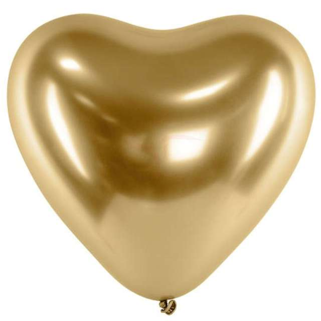 """Balony """"Serca Shiny"""", złote, Gemar, 12"""", 25 szt."""