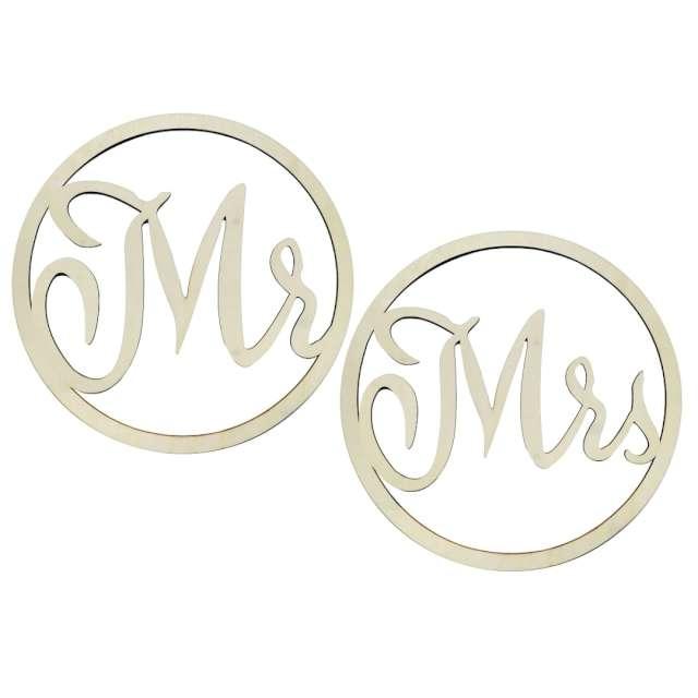 """Dekoracja """"Mr & Mrs w kole"""", drewniana, Godan, 42 cm, 2 szt"""