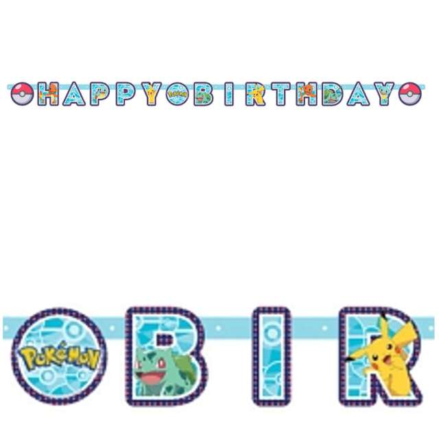 Baner Happy Birthday - Pokemony Amscan 218 cm