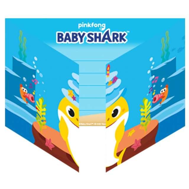 Zaproszenia urodzinowe Baby Shark Amscan 8 szt
